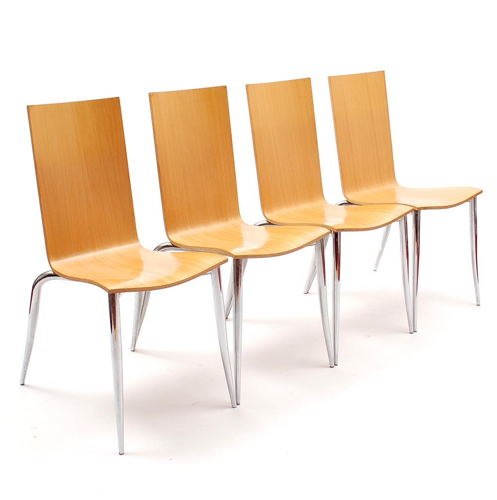 Design Stoelen Philippe Starck.Botterweg Auctions Amsterdam Chairs 4x Olly Tango Chromed