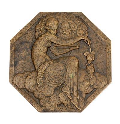 Botterweg Auctions Amsterdam > 8-Sided bronze Art Deco relief-coin ...
