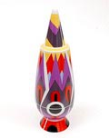 """Alessandro Mendini covered vase """"100% Make-up"""" (no.90), with decoration of Robert Venturi (USA), from the limited series of 100 vases per decor, for Alessi / made in Germany 1992"""