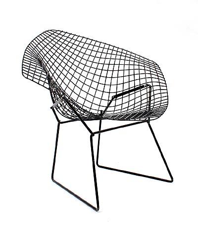 Botterweg auctions amsterdam zwarte gelakt metalen draadstoel diamond chair ontwerp harry - Chair jaarontwerp ...
